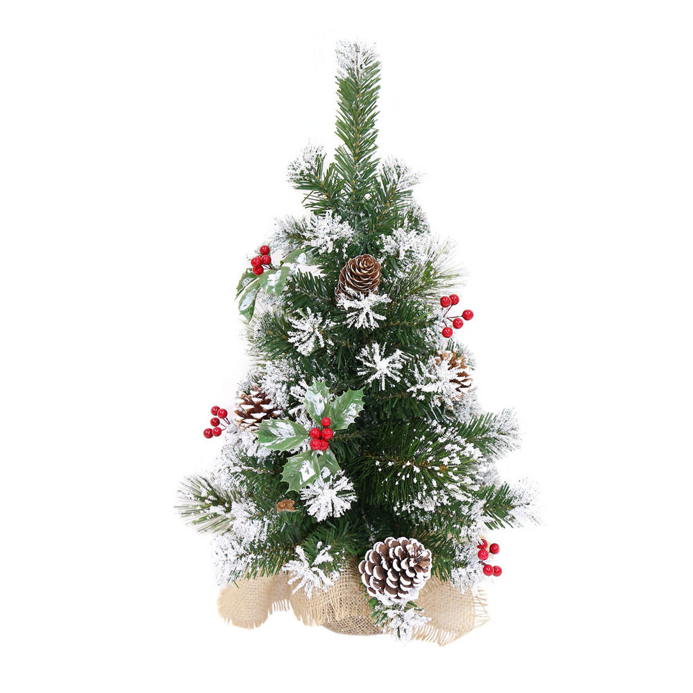 decorated artificial mini christmas tree 60cm tall 3 styles. Black Bedroom Furniture Sets. Home Design Ideas
