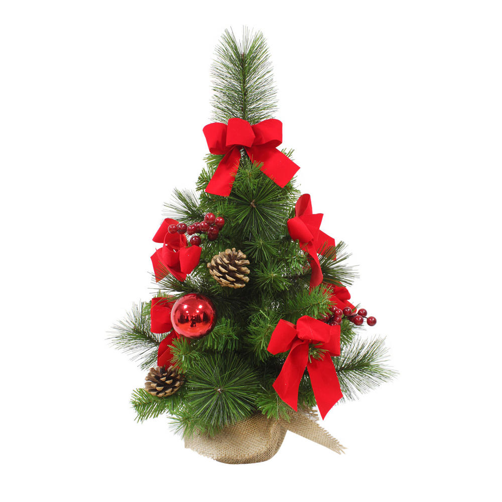 Decorated Artificial Mini Christmas Tree 60cm Tall 3 Styles