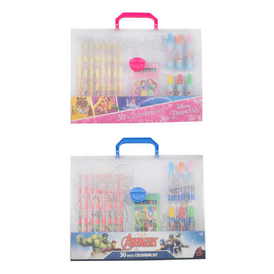 Kids 30 Piece Colouring Drawing Set Felt Pens Pencils Crayons