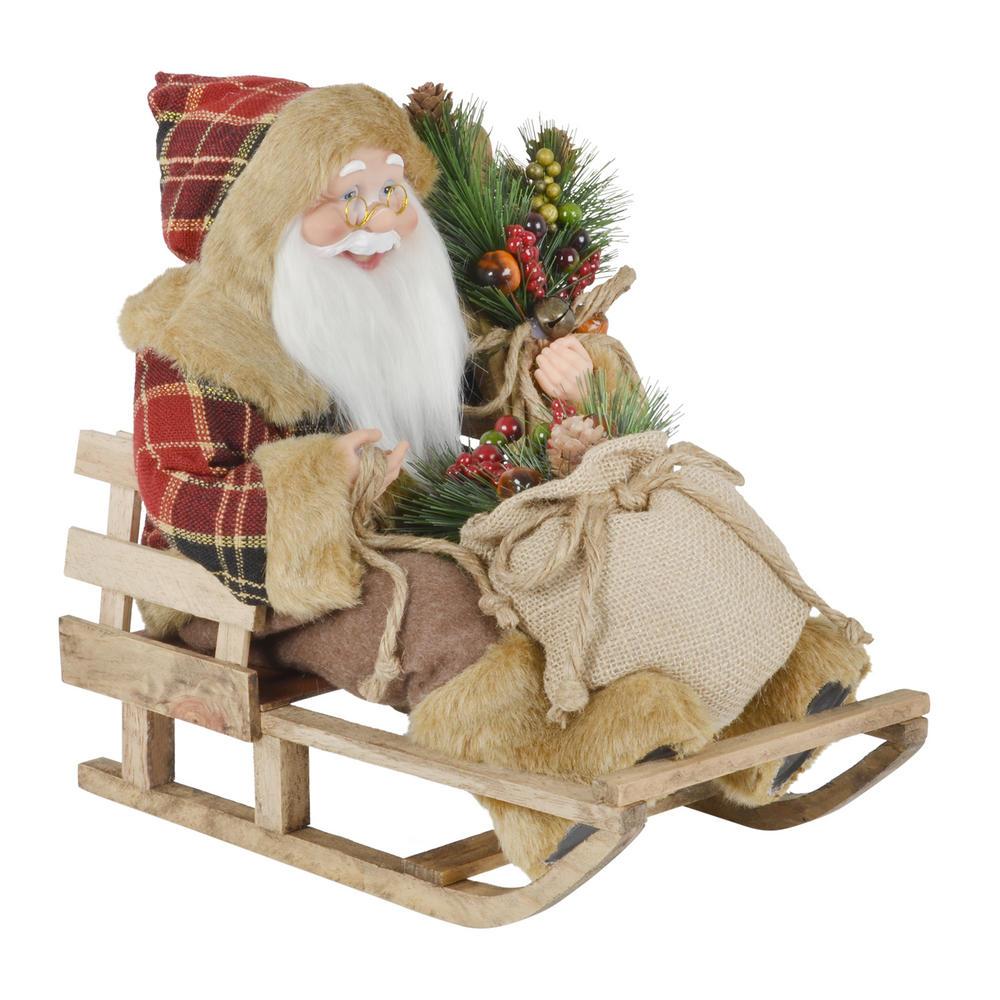 40cm Santa Sitting On A Sled Christmas Xmas Room Decoration