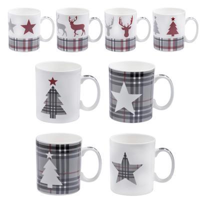 Set of 4 Red Tartan Ceramic Tea Coffee Mugs Christmas Design