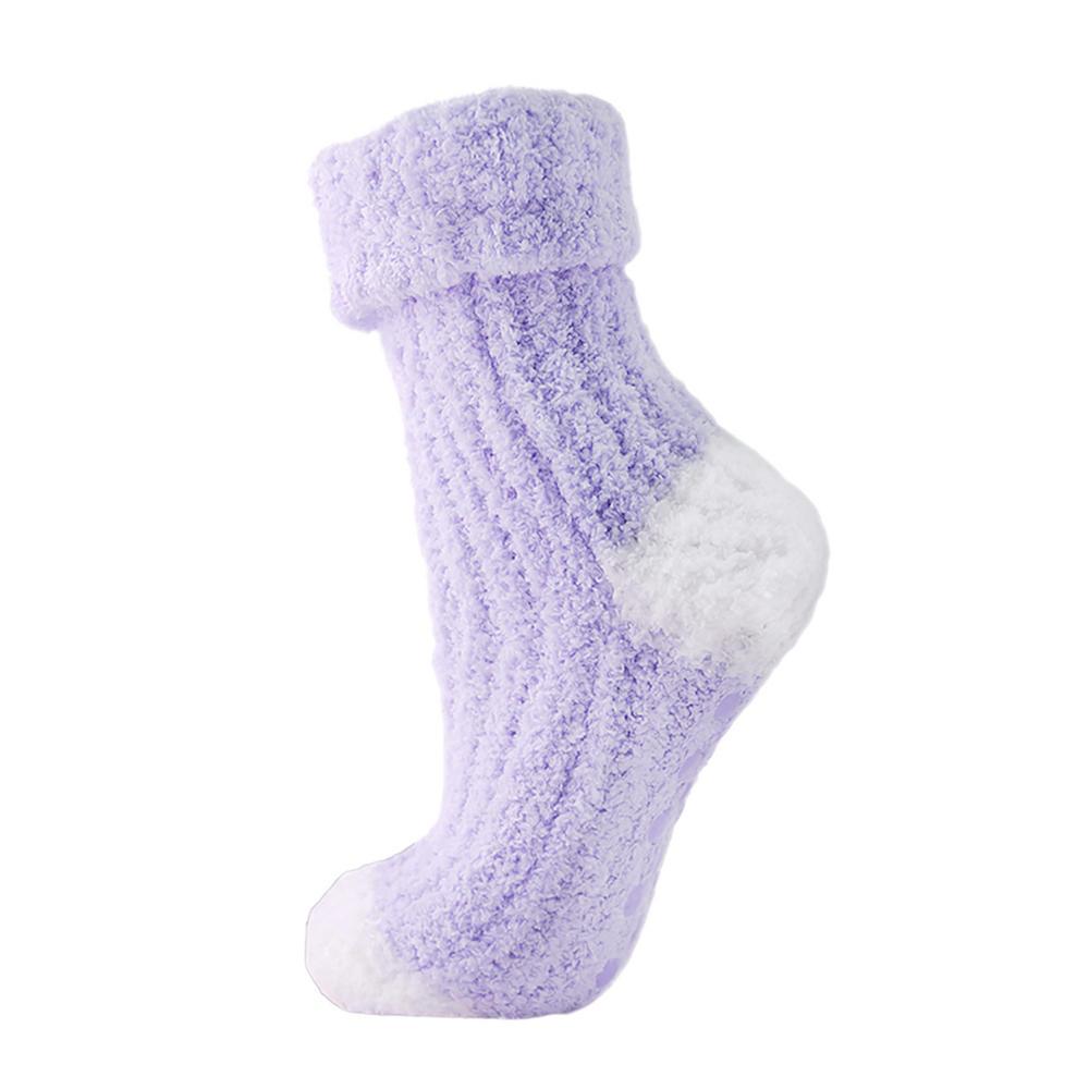 Womens Cosy Non Skid Slipper Socks Fluffy Snowsoft Gripper ...