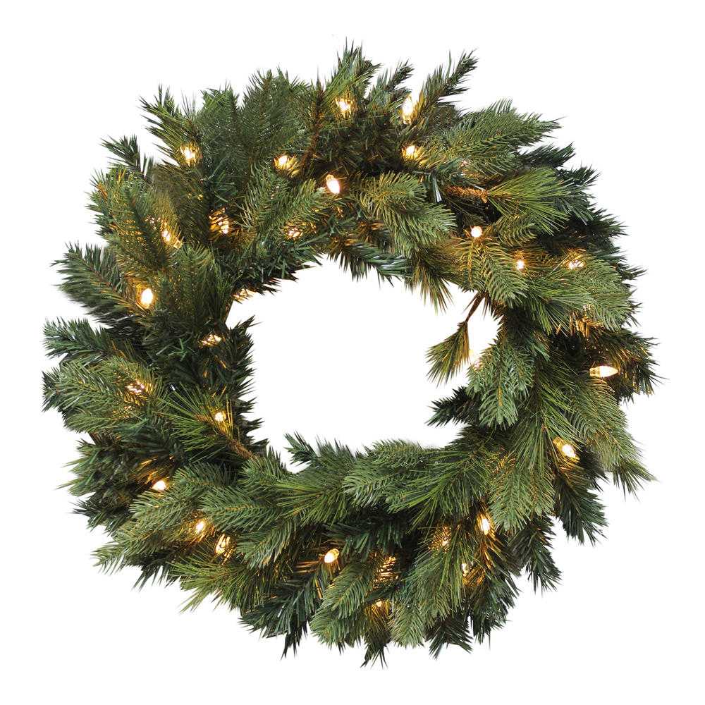 Luxury pre lit artificial pine wreath christmas decoration