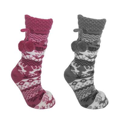 Foxbury Womens Fair Isle Cosy Slipper Socks Sherpa Lining