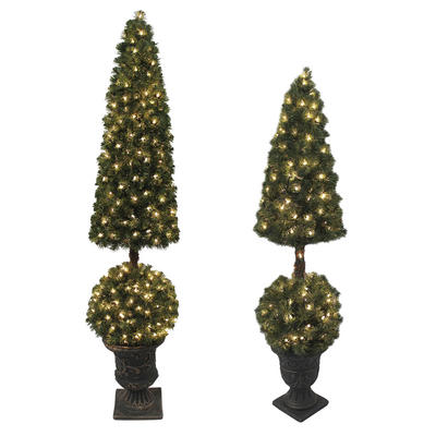 Premium Pre-Lit Artificial Topiary Xmas Tree Indoor Outdoor
