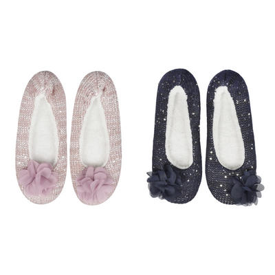 Womens Sequin Ballet Slippers Slip On Cushioned Non Slip Navy/Pink