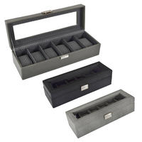 Faux Leather 6 Watch Display Case Organiser Jewellery Holder