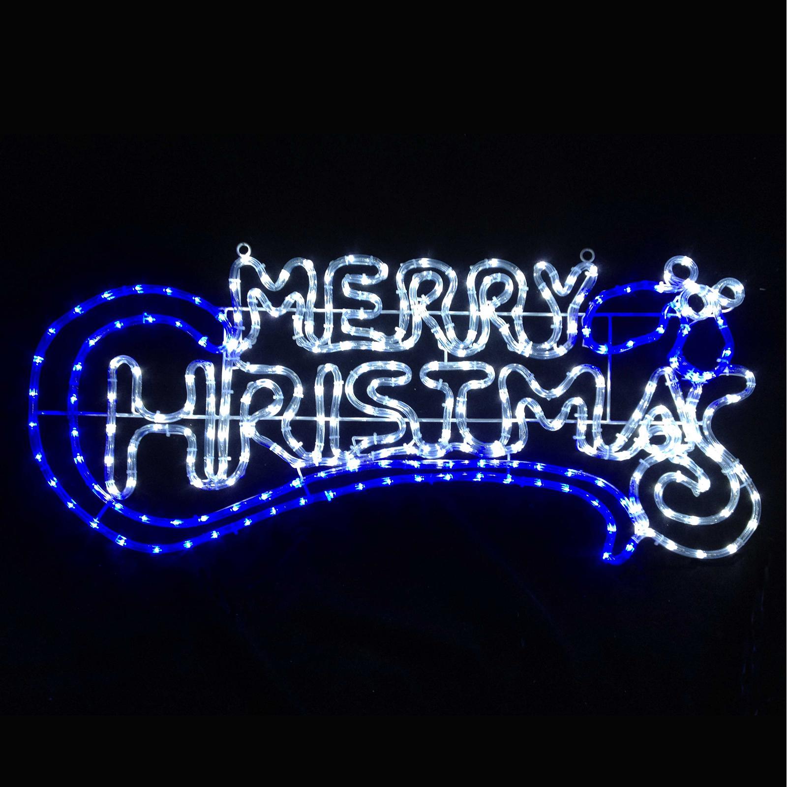 Merry Christmas Sign Blue White Rope Light Chasing LED Decoration Xmas