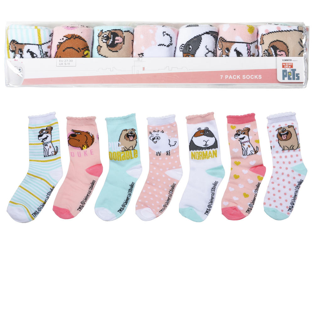 7 Pairs Secret Life of Pets Assorted Socks Girls Boys Kids Official Preview