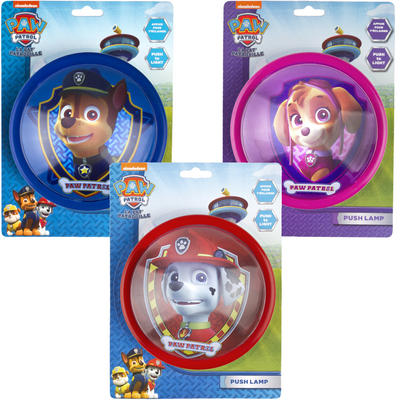 PAW Patrol Push Light Childrens Bedroom Battery Chase Skye Marshall