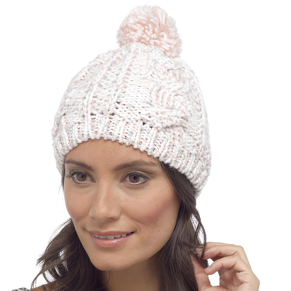 foxbury womens knitted beanie hat sparkly with pom pom