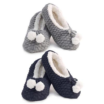 Foxbury Womens Slipper Socks Knitted Sherpa Lining One Size