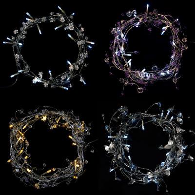 20 Static LED Light String Garland Beads Leaf Flower Crystal Christmas