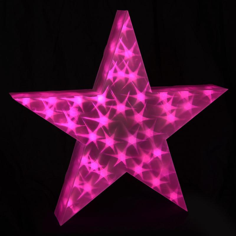 Pink holographic led star light up cm christmas decoration