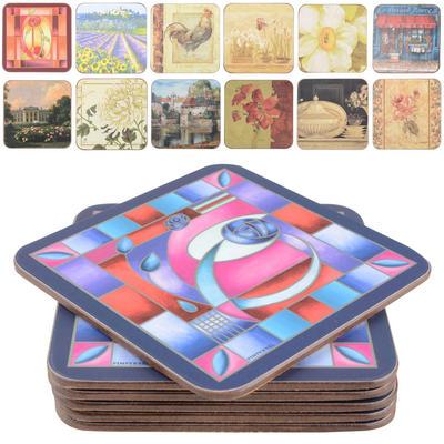 Set Of 6 Cork Backed Pimpernel Coasters - Assorted Designs
