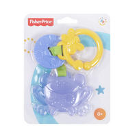 Fisher Price Blue Frog Teether Soother Ring Baby Toy Age 3m+