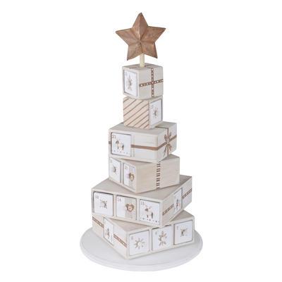 Wooden Present Tower Christmas Advent Calendar Xmas Decoration