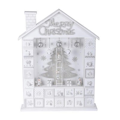 Wooden House Christmas Advent Calendar Xmas Festive Decoration