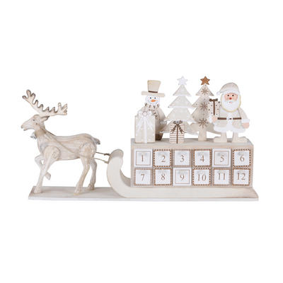 Wooden Christmas Advent Calendar Reindeer Sleigh Xmas Decoration