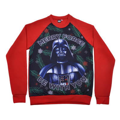 Adults Merry Force Be With You Christmas Jumper Star Wars Darth Vader