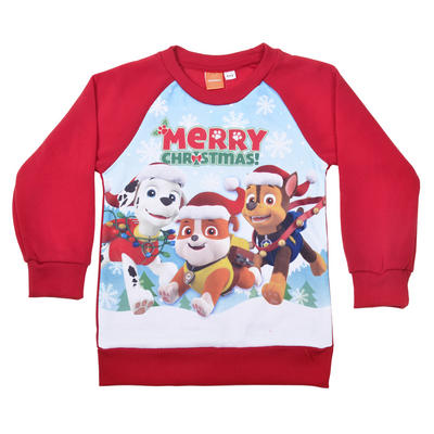 PAW Patrol Merry Christmas Jumper Marshall Rubble Chase Red Fleece