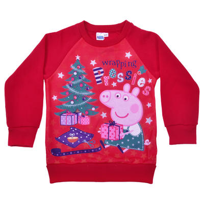 Wrapping Presents Peppa Pig Christmas Jumper Red Fleece Girls Kids