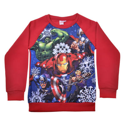 Kids Marvel Avengers Christmas Jumper Red Fleece Hulk Ironman Thor
