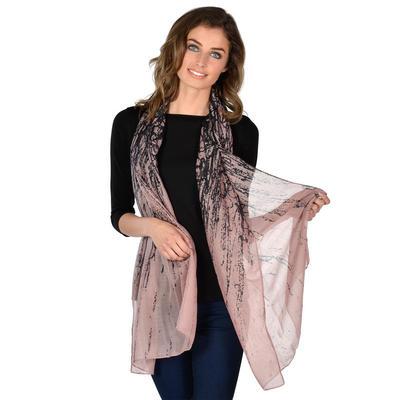 RIVIERA - Ladies Pink Lightweight Sheer Print Scarf
