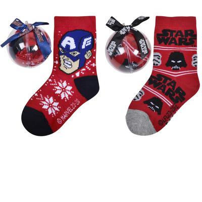 Boys Christmas Socks In Bauble Captain America Star Wars Darth Vader