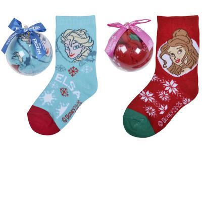 Girls Christmas Socks in Bauble Disney Princess Frozen Elsa Red Xmas