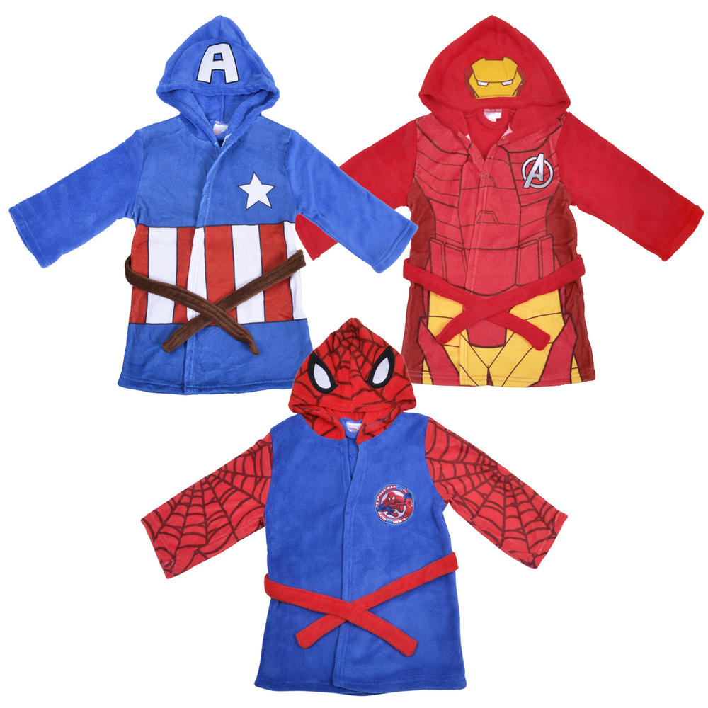 Boys Fleece Marvel Superheroes Dressing Gown Hooded Bathrobe Blue Red Preview