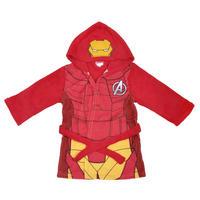 Boys Fleece Marvel Superheroes Dressing Gown Hooded Bathrobe Blue Red Thumbnail 3