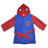 Boys Fleece Marvel Superheroes Dressing Gown Hooded Bathrobe Blue Red Thumbnail 4