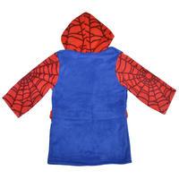 Boys Fleece Marvel Superheroes Dressing Gown Hooded Bathrobe Blue Red Thumbnail 7