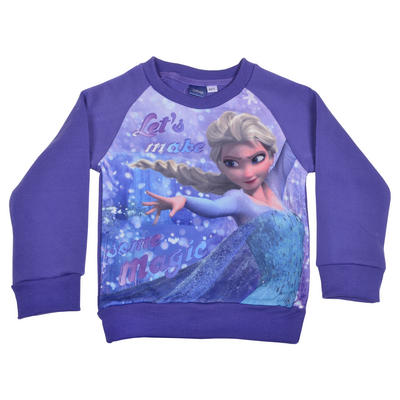 Girls Disney Frozen Elsa Purple Xmas Christmas Jumper Sweater
