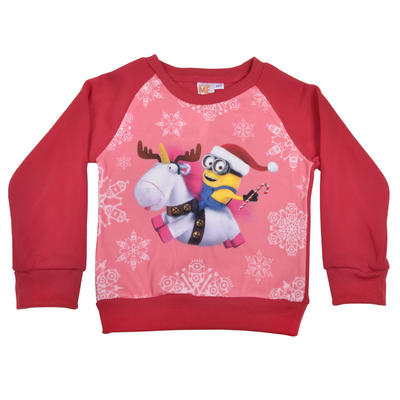 Girls Disney Minions Despicable Me Red Xmas Christmas Jumper Sweater