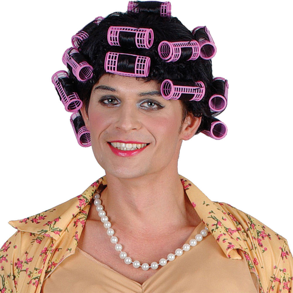 Unisex Funny Housewife Granny Rollers Queen Fancy Dress Costume Wig Accessory Preview