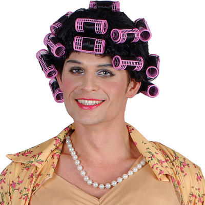 Unisex Funny Housewife Granny Rollers Queen Fancy Dress Costume Wig Accessory