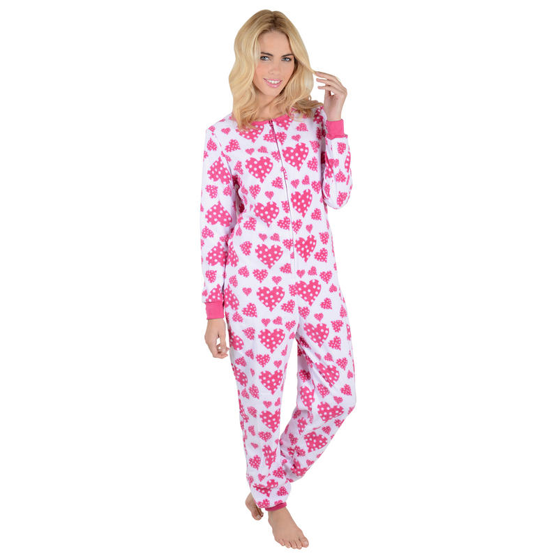 ladies pink hearts fleece all in one piece pyjamas onesie. Black Bedroom Furniture Sets. Home Design Ideas