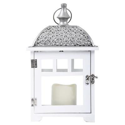 White LED Flicker Candle Lantern Home Garden Timer Battery