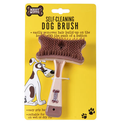 Self-Clean Dog Brush Messy Mutts Easy Grip Push Button