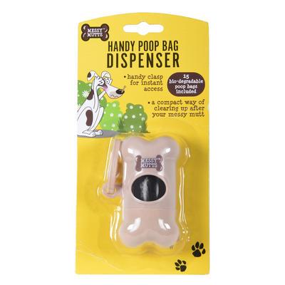 Poop Bag Dispenser Handy Clasp Bone Shape Messy Mutts +15 Bags