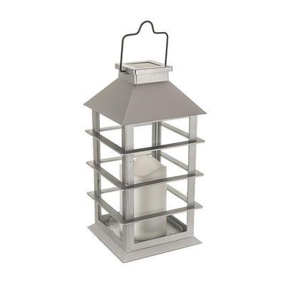 Solar Power Candle Lantern Outdoor Garden Amber Flicker LED