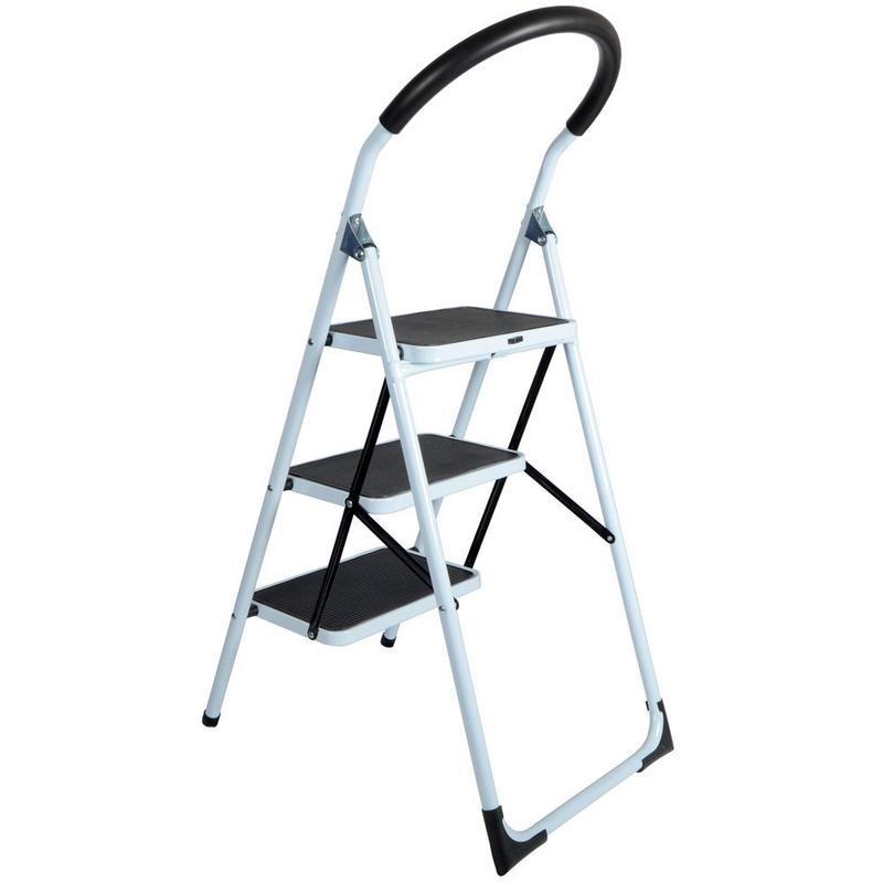 3 Step Non Slip Tread Folding Household Ladder Kitchen