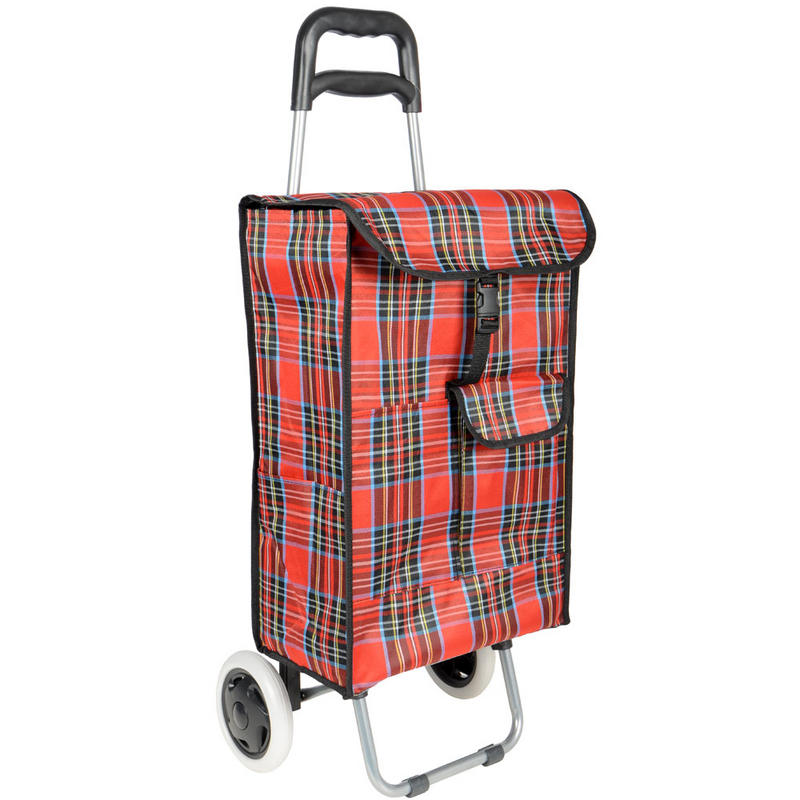 Retro Red Tartan Large Wheeled Festival Shopping Trolley