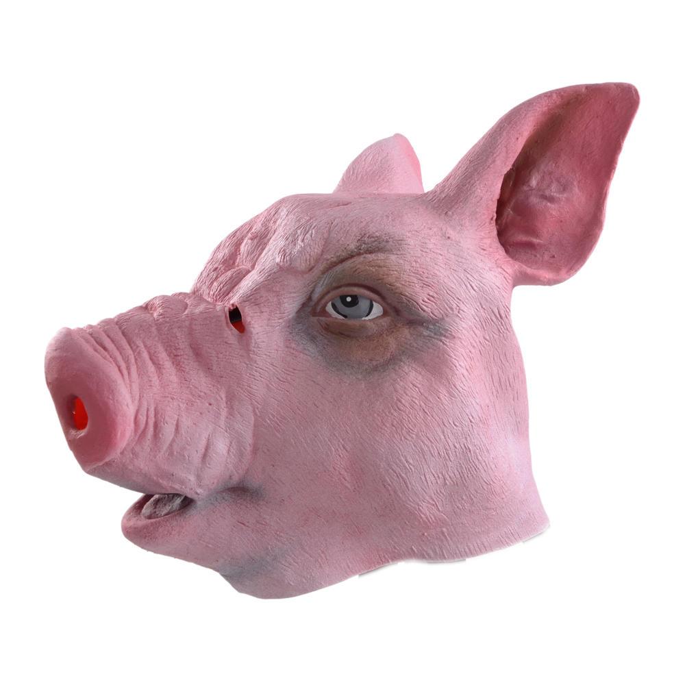 overhead porky pig unisex fancy dress pink rubber animal