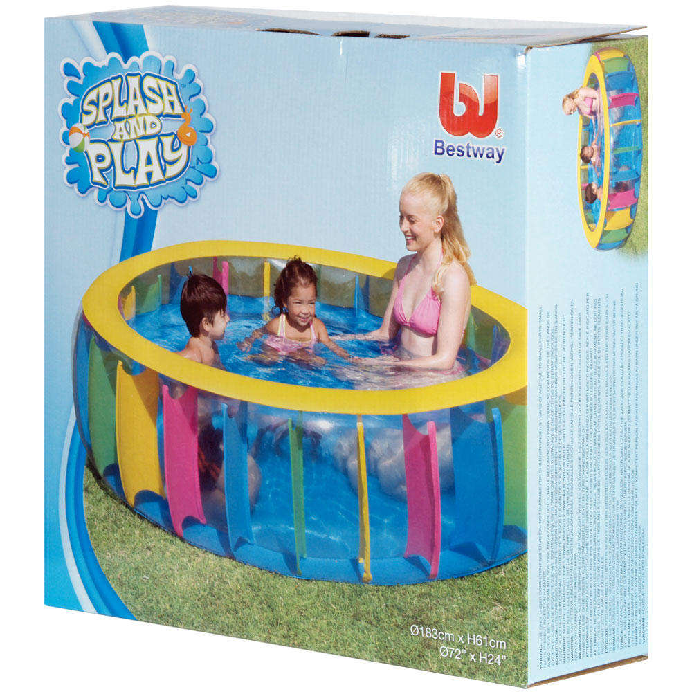Splash play multi coloured inflatable family swimming for Family paddling pool