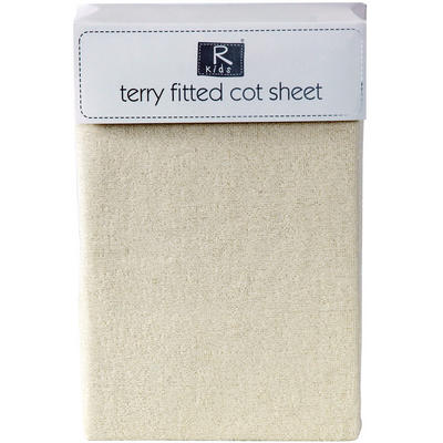 Baby Fitted Terry Towelling Crib Cot Sheet 85% Cotton Cream New