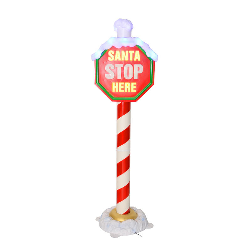 6m flashing light up quot santa stop here quot christmas sign on pillar
