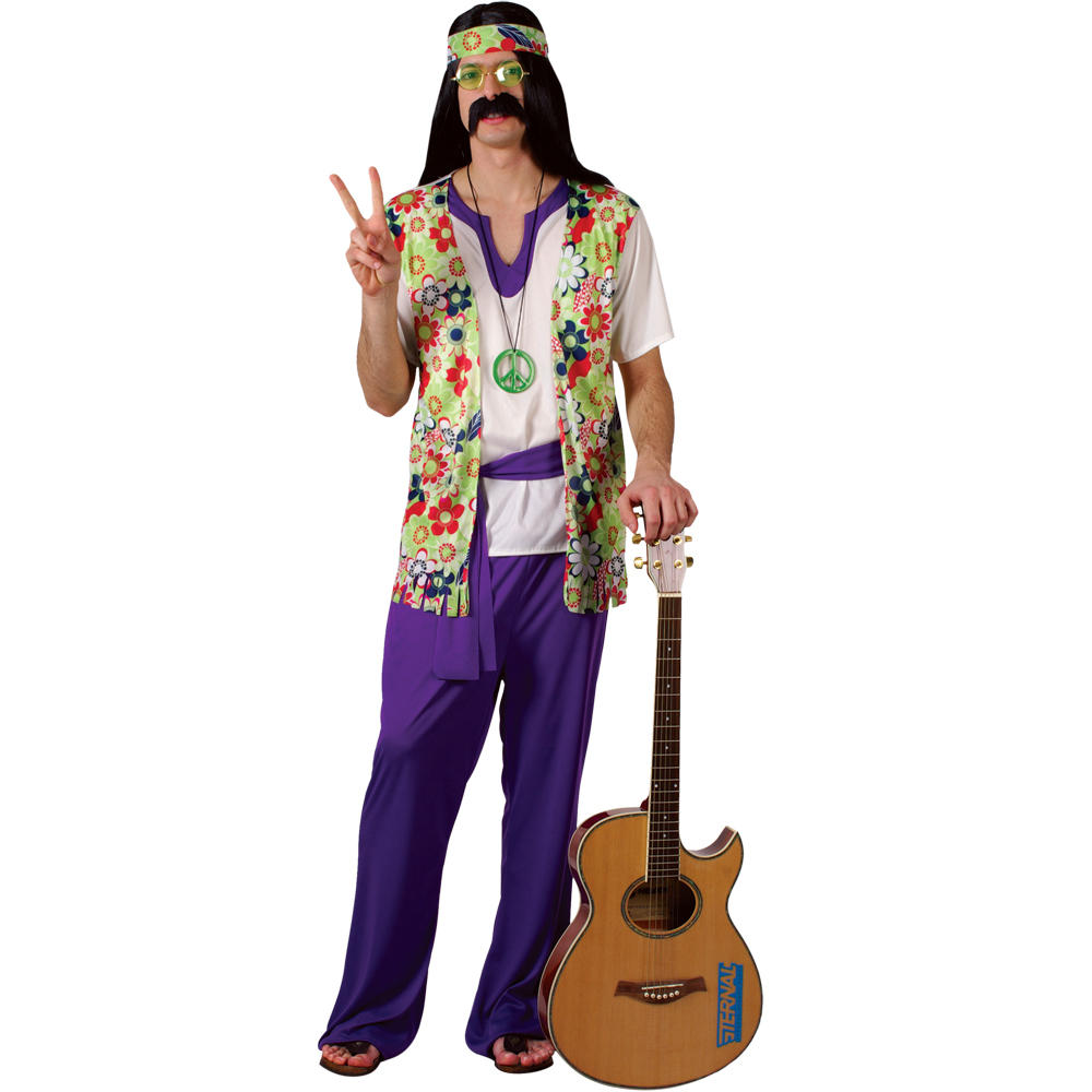 1960s Peace Man Woodstock Hippie Hippy Mens Fancy Dress Costume